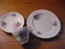 Grosvenor Bone China 3 Piece Luncheon Set, Violets, Made in England