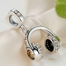 New! 925 Sterling Silver Charm Cool Audio Headphones Crystal Bead for Bracelet