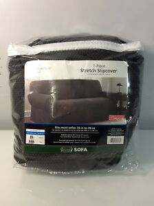 Mainstays 1-Piece Stretch Fabric Sofa Slipcover - Charcoal