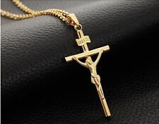 Mens Womens Stainless Steel Gold Jesus Cross Pendant Chain Necklace + Box #NL15