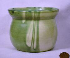 Handmade Pottery Pot Green & Cream Flare Rim Drip Pottery Utensil Holder