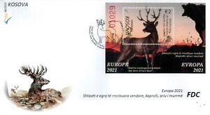 Kosovo Stamps 2021. CEPT Europa 2021: Endangered wildlife. Fauna. FDC Block MNH