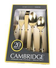 Cambridge Cranston Gold Mirror Tone 20 Piece Stainless Steel Flatware Set New