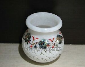 White Marble Flower Pot with Floral Design Flower Vase for Hall Room 04 Inches