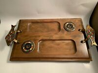 Vintage Heavy Wooden Tray With Brass Fish Handles Serving Tray Made In Israel
