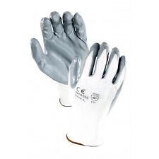 120 PAIRS White 13 Gauge Nylon, Gray Nitrile Palm Coated Textured Glove MEDIUM