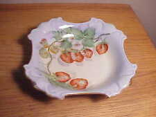Vintage Hand-Painted Porcelain Bowl Strawberry Berries & Flowers -Artist Signed