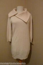 NWT Le Pavot Soft Cream Pure Cashmere Fichu Neckline Tunic Sweater SZ S $495