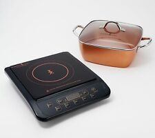 "Copper Chef 1300W Induction Cooktop with 11"" Casserole 5-piece set"