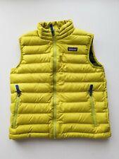 Patagonia Full Zip Goose Down Puffer Vest Boys Size 12 Large Mustard Yellow