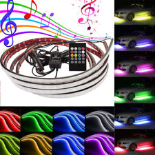 4pcs RGB LED Strip Under Car Tube Underbody Underglow Glow System Neon Light Kit