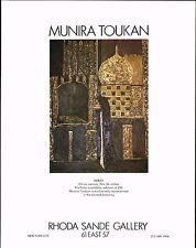 1978 Vintage Munira Toukan Abbay Art Rhoda Sande Gallery Print AD