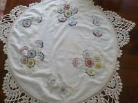 Antique Ivory linen doily floral embroidered w/ lace round table covering