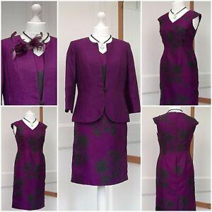 Jacques Vert Purple Black Dress & Jacket Size 10 - 12 Worn ½ Hour
