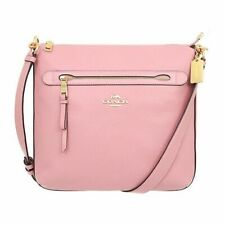New Authentic Coach F34823 Pebble Leather Mae Crossbody Purse Handbag Petal Pink