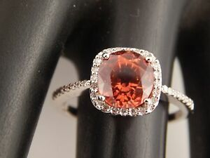 2.96 tcw AGL Certified HIGH END Orange Sapphire Halo Diamond G/SI Ring 14k WG