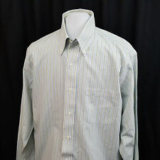 Brooks Brothers 346 Dress ORIGINAL POLO blue green striped Shirt No Iron 16-6/7