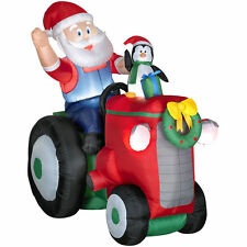 Gemmy Airblown Inflatable Animated Christmas Santa With Penguin on a Tractor,NEW