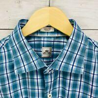 Peter Millar Blue Green Plaid Long Sleeve Button Shirt Mens XL