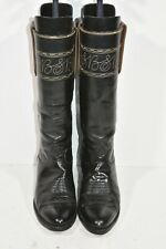 VINTAGE TONY LAMA WOMENS 6 BLACK LEATHER TALL SHAFT FASHION CLASSIC COWBOY BOOTS