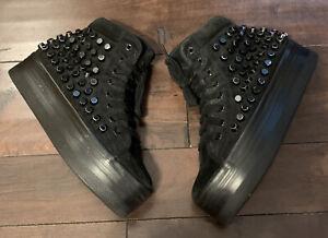Jeffrey Campbell Play Platform Black Suede Hi Top Studded Sneakerssz 7.5