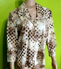 ST. John Collection By Marie Gray Brown Sequin Dots Button Front Blouse Sz 8