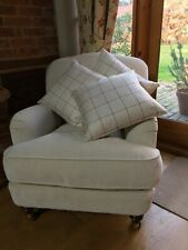Bespoke Handmade feather cushion beige with burgundy check -Laura Ashley fabric