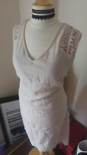 Ladies Topshop Summer embroidered Dress Nude Floral Size Large Lightweight Cool