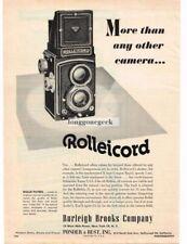 1952 Rolleicord TLR Medium Format Camera Vtg Print Ad