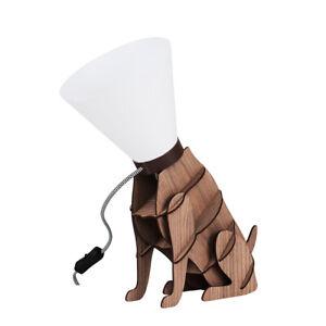 Designer Dog Table Lamp Brown Wood Dog on Lead Funky Style Light Lamps Lighting