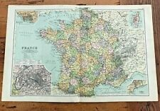 1890 large double page map - g.w. bacon the strand london . france !
