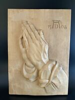 Hand Carved Wood ALBRECHT DURER Praying Hands Wall Hanging Vintage Germany