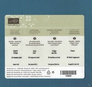 Stampin Up ISLAND INDIGO Cardstock 8 1/2 X 11 Full Pack 24 Sheets Blue Paper