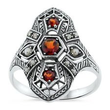 GENUINE GARNET AND PEARL ANTIQUE DESIGN .925 STERLING SILVER RING SZ 7,     #105