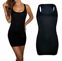 Womens Ladies Black Bodycon Mini Vest Stretch Dress Size UK 8 10 12 14 16 18 20