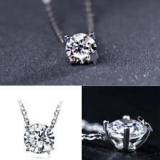 925 Silver Korea Style Clavicle Crystal Rhinestone Pendant Bright Super Sale