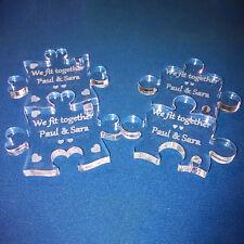Personalised Acrylic Perspex Jigsaw Keyrings Weddings Anniversaries Valentines !