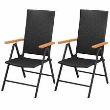 Gartenstühle 2 Stk. Poly Rattan Aluminium Schwarz I0B2