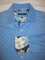 Robert Graham Men's Button Front Shirt Sz Large Blue Long Sleeve Flip Cuff