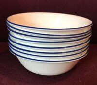 """8-Corelle True Blue Cereal / Soup Bowls With Blue Rim 6-1/4"""" Excellent Condition"""