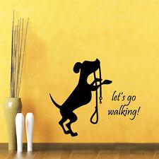 Dog Wall Decal Quote Let's Go Walking Pet Shop Vinyl Sticker Bedroom Decor kk736