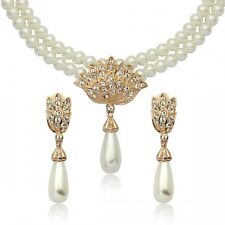 18K ROSE GOLD PLATED CUBIC ZIRCONIA & PEARL JEWELLERY SET / CLIP-ON EARRINGS