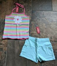 NWT Sz 10 Gymboree PALM SPRINGS Daisy Pink White Yellow Top Blue Knit Shorts