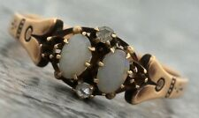 Antique Victorian 1890s Estate 14K Yellow Gold Opal Diamond Cocktail Ring