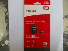 16GB SDHC TOSHIBA  Micro SD Memory Card 80MBs with Adapter  free postage