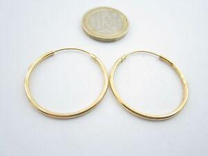 1 paio di orecchini argento 925 placcato oro giallo cerchi medi diametro 32 mm