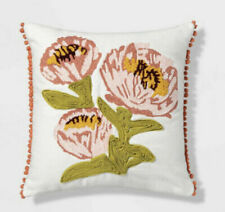 Opalhouse Floral Embroidered Decorative Pillow Flowers Green Pom Pom Coral White