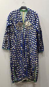 Turkmen tribe Afghanistan Wedding Coat Blue Flannel Coin Coat