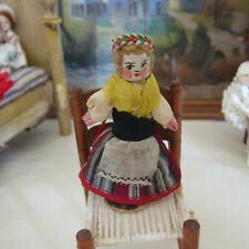 Dollhouse ANTIQUE WHITE WOOD PEG DOLL Tiny Artisan Miniature Cloth Wool Painted