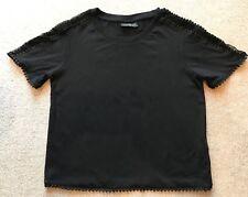LADIES TOPSHOP PETITE UK 4 BLACK CROP T-SHIRT WITH MESH STRIP ON SHOULDER